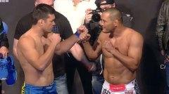 Lyoto (esq.) encara Hendo (dir.) na pesagem oficial do UFC 157. Foto: Reprodução/Youtube