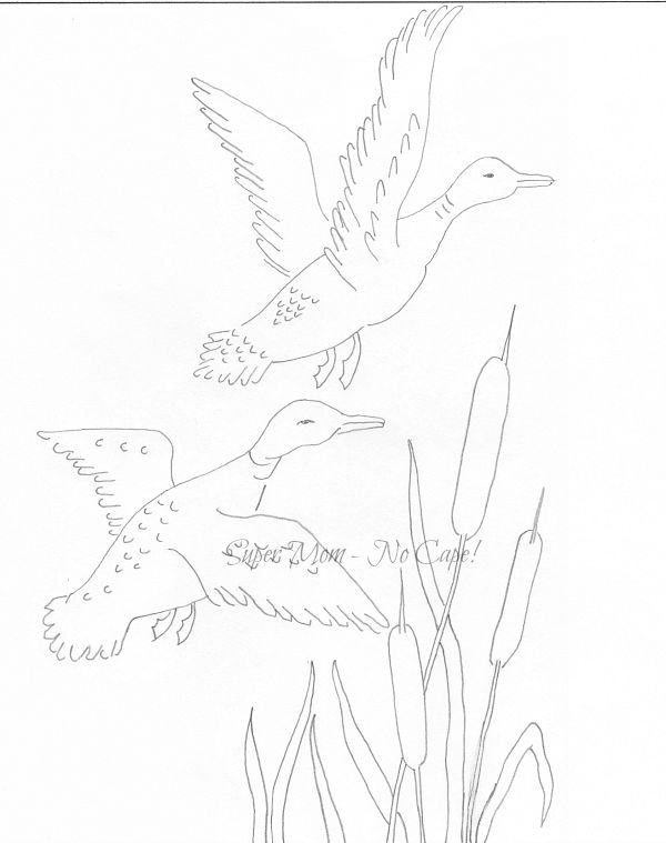 Vintage Workbasket embroidery pattern for Ducks in Marsh from page #65
