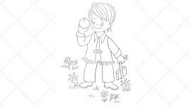 Vintage Workbasket - Embroidery Pattern - Pioneer Boy Heading Off to School