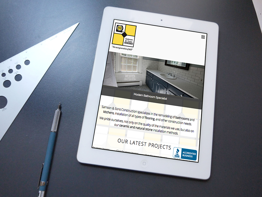 Image of Samson and Sons Construction website