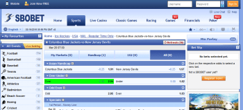 Columbus Blue Jackets @ SBO Bookmaker