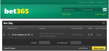 CS U Craiova @ Bet365 Bookmaker