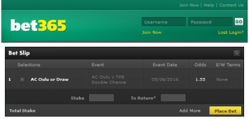 AC Oulu @ Bet365 Bookmaker