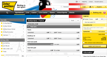 France @ Interwetten Bookmaker