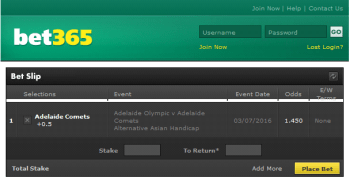 Adelaide Comets @ Bet365 Bookmaker