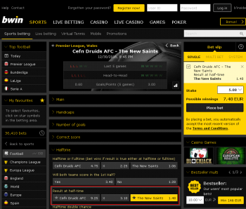 The New Saints @ BWin Bookmaker
