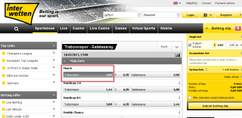 Trabzonspor @ Interwetten Bookmaker