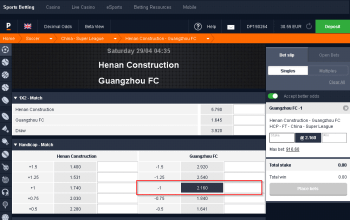 Guangzhou FC @ Pinnacle Bookmaker