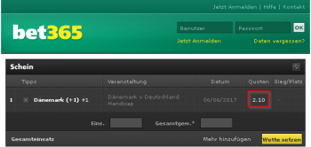 Denmark @ Bet365 Bookmaker