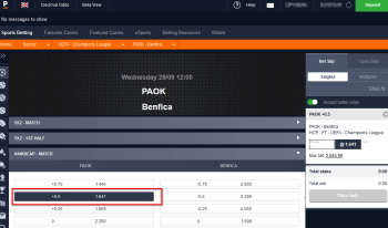PAOK @ Pinnacle Bookmaker