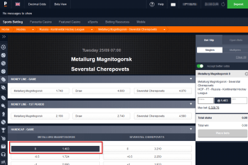 Metallurg Magnitogorsk @ Pinnacle Bookmaker