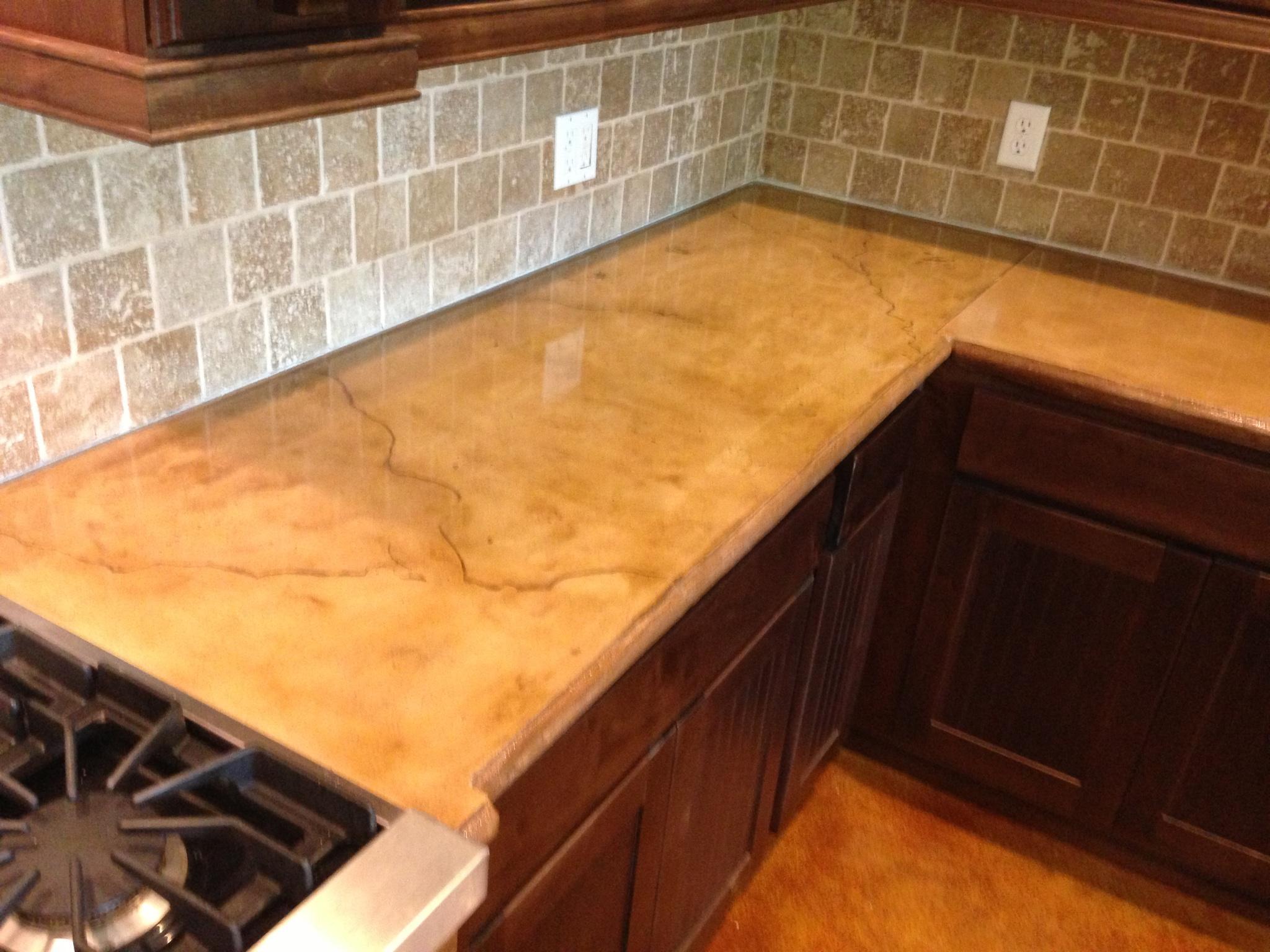 concrete installer discovers concrete countertops concrete kitchen countertops Veined Beige Travertine Concrete Countertop
