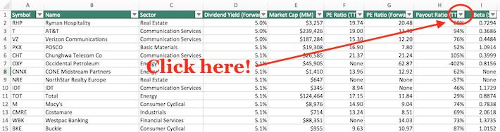 High Dividend Stocks Screenshot 1