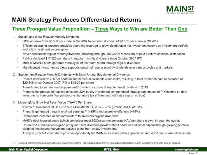 Main Street Capital Corporation MAIN Strategy Produces Differential Returns