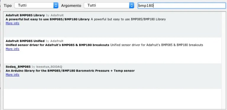 Arduino BMP180 sensor library