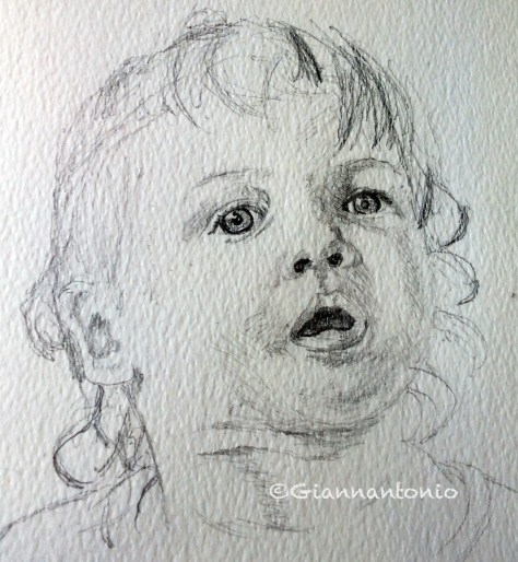 "Lady M at 17 Months, 7 x 5"" pencil sketch on rough watercolor paper"