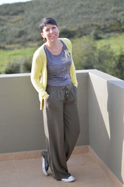 Khaki wide legged pants14
