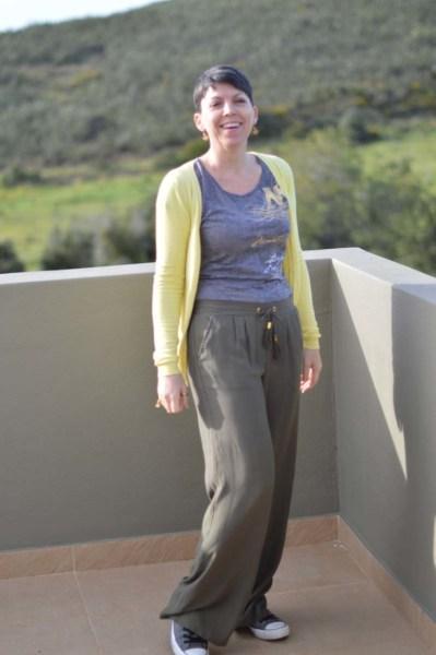 Khaki wide legged pants16