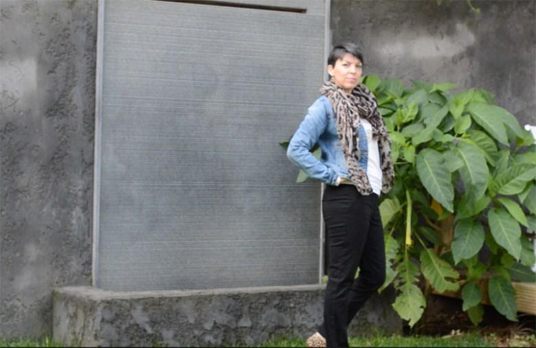 Denim jacket, black trousers and animal print11