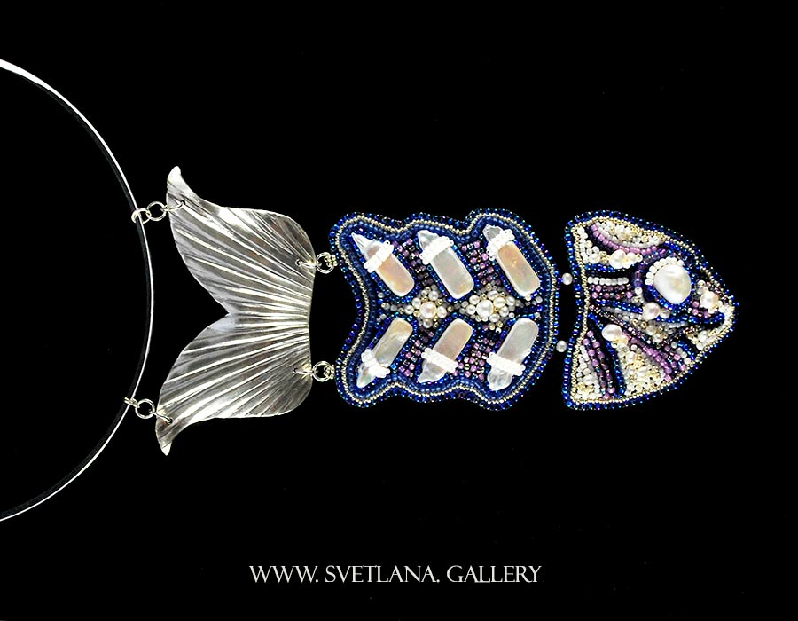 Pearly Fish Statement Necklace - freshwater pearls, seed bead embroidery