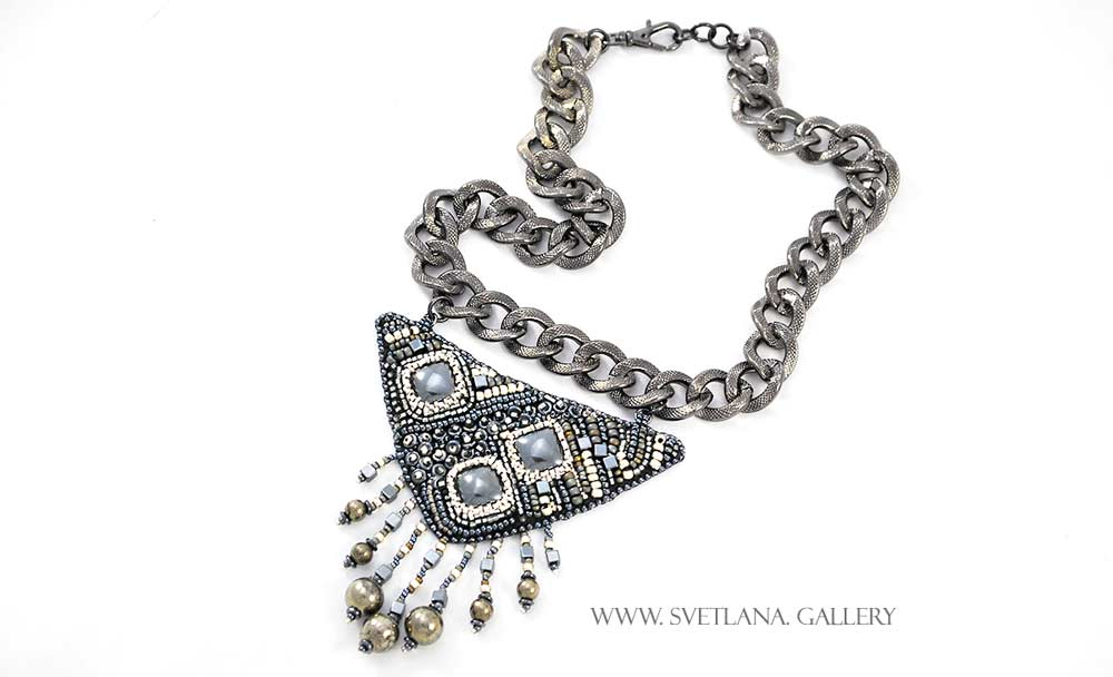 Tribal Metal Necklace - hematite, pyrite and seed bead embroidery.