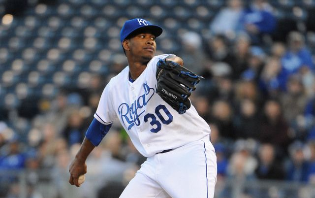 Apr 8, 2014; Kansas City, MO, USA; Kansas City Royals starting pitcher Yordano Ventura (30) delivers a pitch in the first inning against the Tampa Bay Rays at Kauffman Stadium. Mandatory Credit: John Rieger-USA TODAY Sports