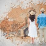 Happy hipster couple holding hands against world map with compass showing north america