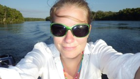 Gillian in the dinghy