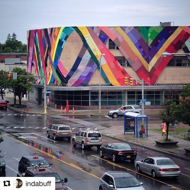#Repost @indabuff with @repostapp・・・Albright-Knox Art Gallery public art installation in place at 950 Broadway -- The Eckhardt Building. Amanda Browder is the artist and the project is called Spectral Locus. Other buildings in Buffalo will be draped similarly soon.