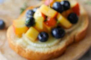 Today on the Boards: Goat Cheese Crostinis with Blueberry, Peach & Thyme Salsa