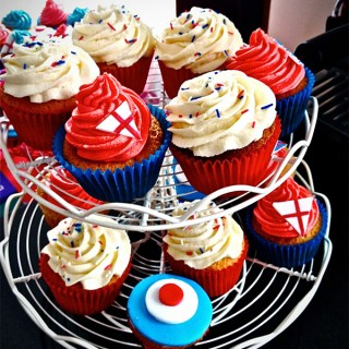 Patriotic Red/White/Blue Olympics Theme Party Cupcakes