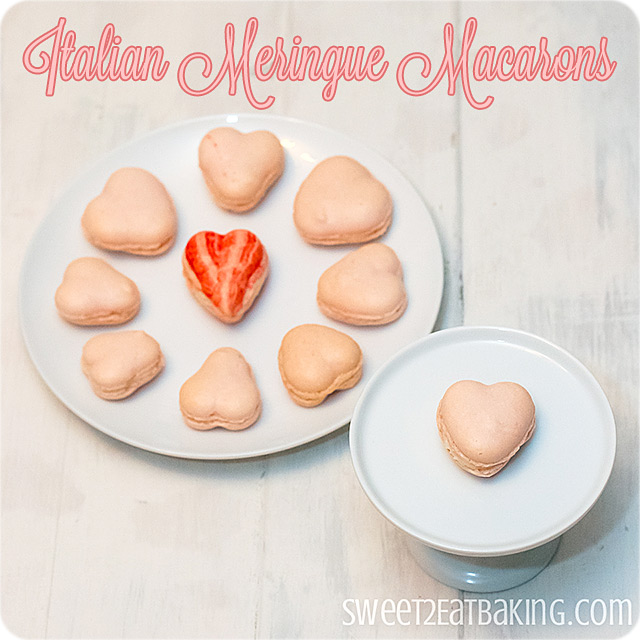 Italian Meringue Heart Macarons by Sweet2EatBaking.com