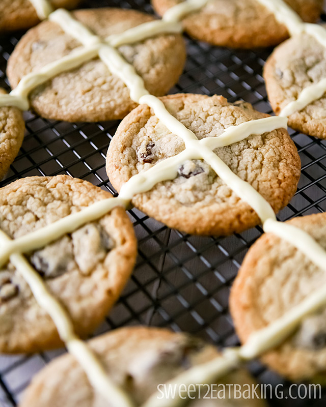 Hot Cross Cookies Recipe by Sweet2EatBaking.com | A Hot Cross Bun in cookie form!