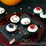 Gothic Rose Vampire Bite Halloween Cupcakes Recipe by Sweet2EatBaking.com