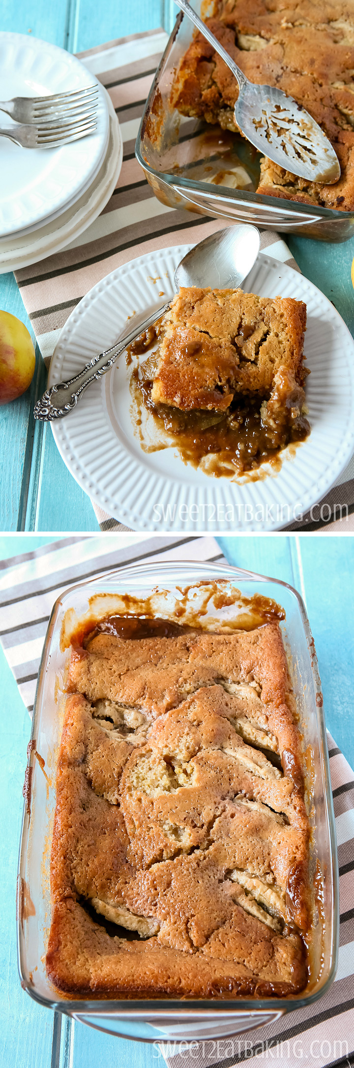Caramel Apple Pudding Recipe by Sweet2EatBaking.com | #toffee #caramel #apple #pudding