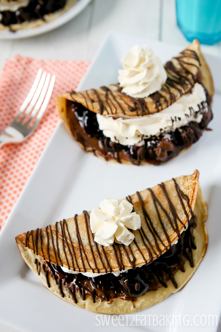 Black Forest Crepes with Nutella by Sweet2EatBaking.com