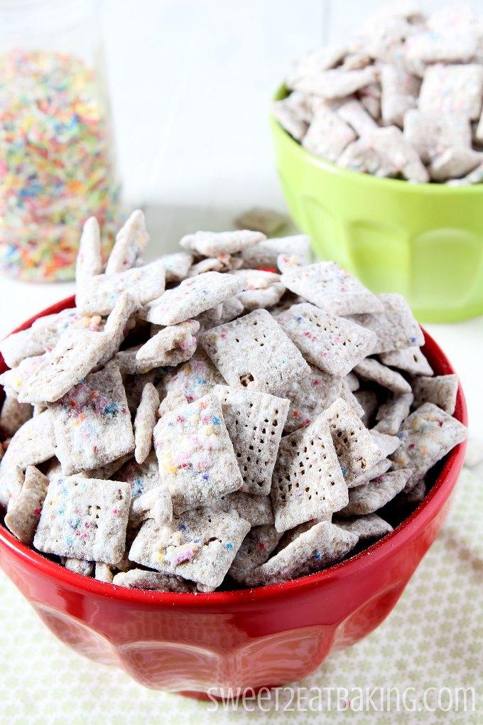 Funfetti Cake Batter Puppy Chow by Sweet2EatBaking.com