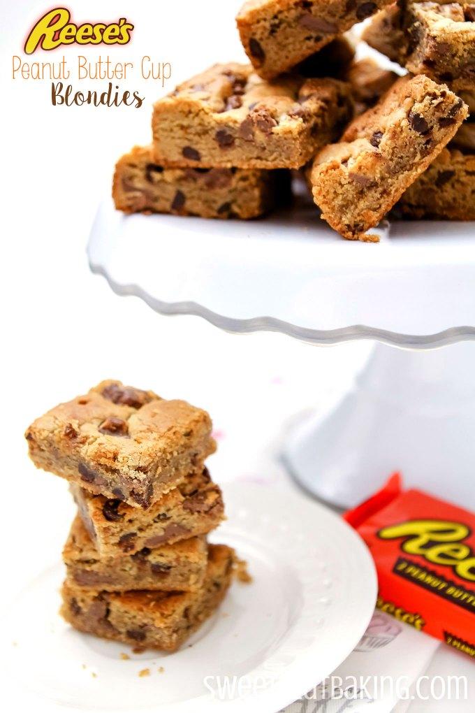 Reese's Peanut Butter Cup Blondies Recipe by Sweet2EatBaking.com