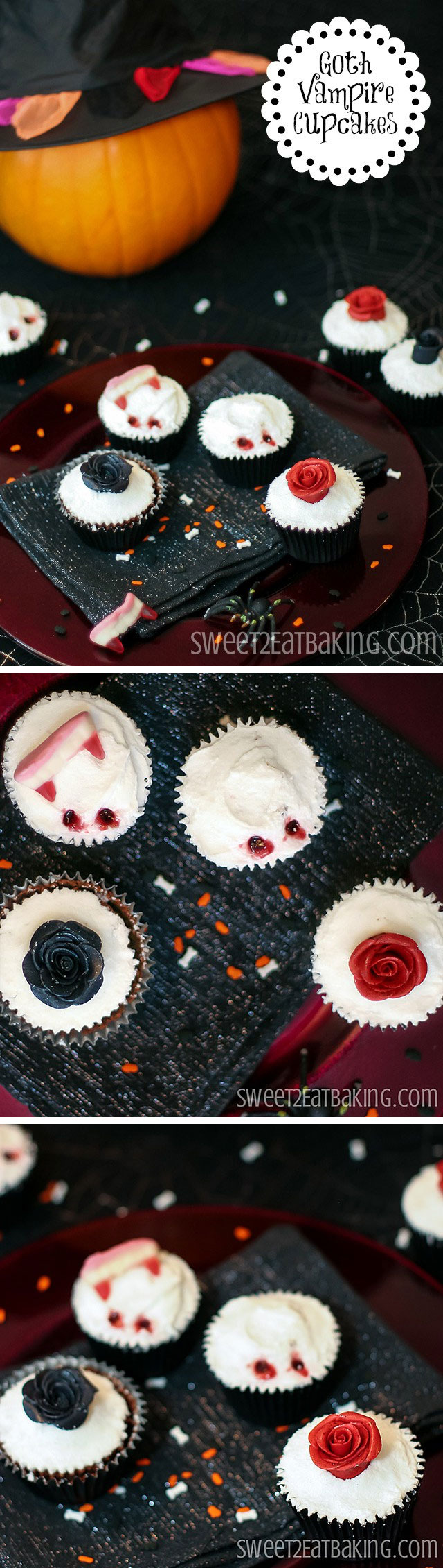 Gothic Roses and Vampire Bite Halloween Cupcakes Recipe by Sweet2EatBaking.com | Get back to goth with these Halloween themed moist Devil's cardamom chocolate cupcakes. Black and blood red roses, and bloody vampire bites make these the perfect dessert for Halloween party.