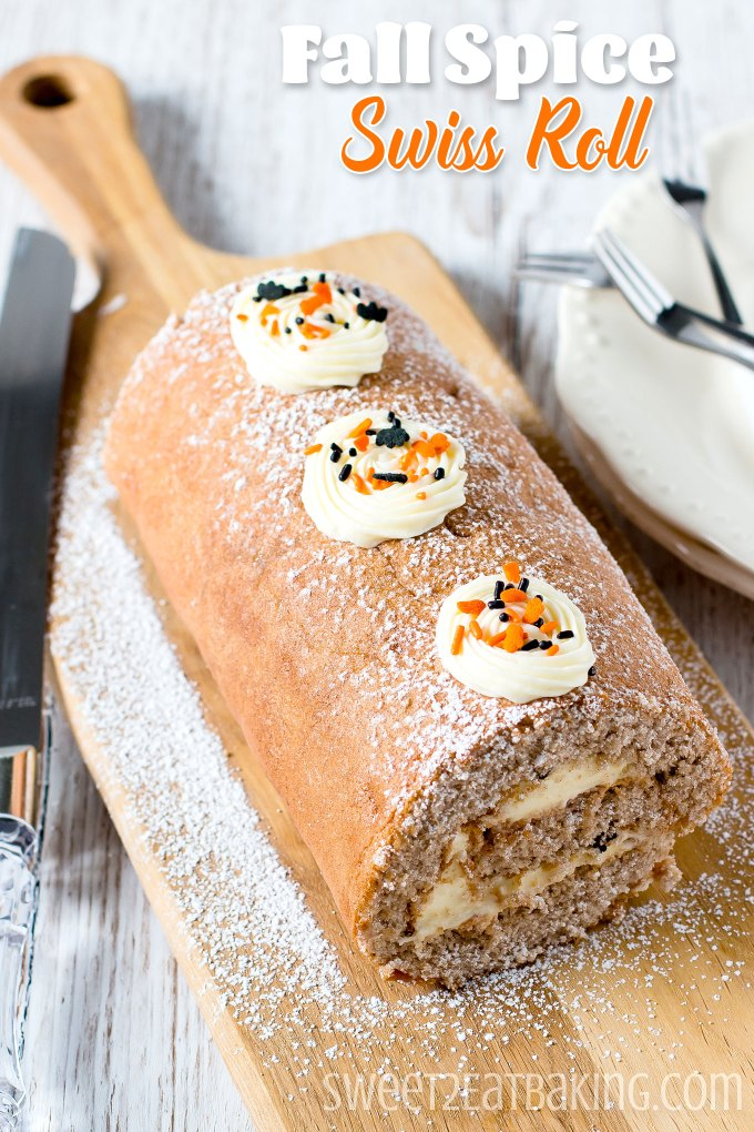 Halloween Fall Spice Swiss Roll Recipe by Sweet2EatBaking.com