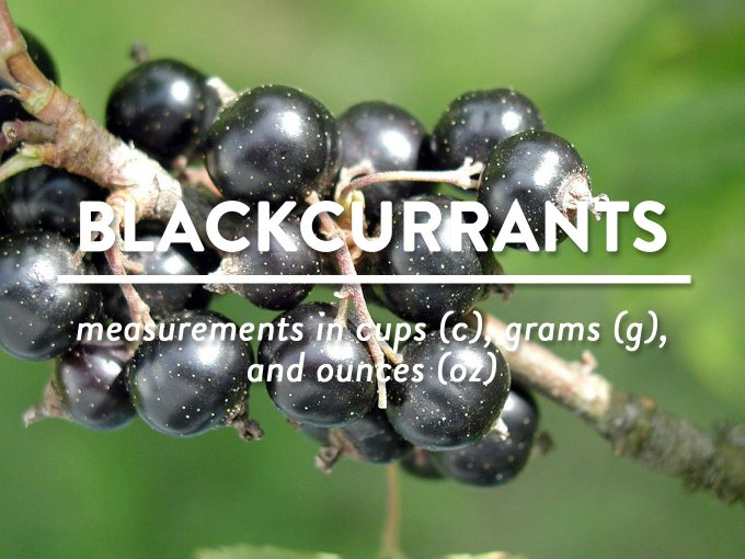 Blackcurrants - Measurements in cups (c), grams (g), and ounces (oz) by Sweet2EatBaking.com