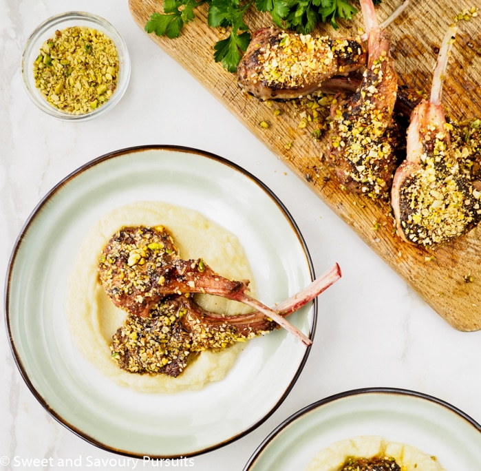 Dukkah-Crusted Lamb Chops with Cauliflower and Potato Purée - Sweet ...