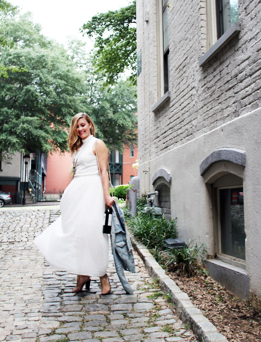 White Skirt + Wine Stains