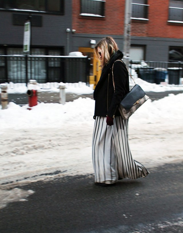 striped maxi during the winter
