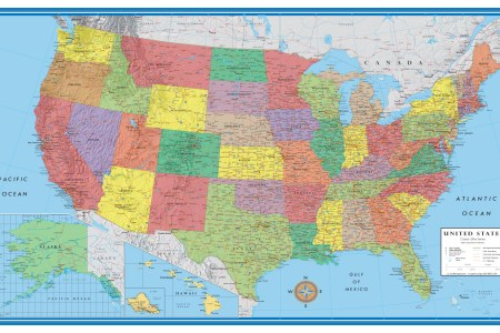 clic elite united states wall map poster