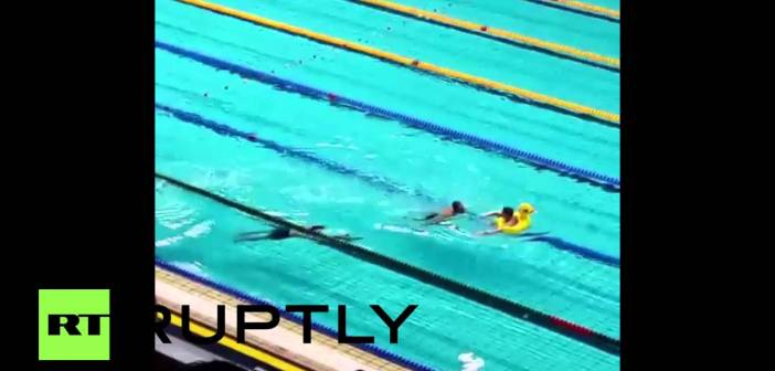 Rubber duck 'streaker' gate-splashes Olympic swim trials in Russia