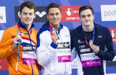 Podium DOTTO Luca ITA ITALY gold medal, VERSCHUREN Sebastiaan NED silver medal, MIGNON Clement FRA bronze medal London, Queen Elizabeth II Olympic Park Pool LEN 2016 European Aquatics Elite Championships Swimming Men's 100m freestyle final Day 12 20-05-2016 Photo Giorgio Perottino/Deepbluemedia/Insidefoto
