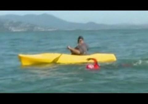 Nine year old boy breaks record with Alcatraz Swim