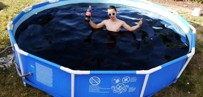 Taking a Bath in a Giant 1,500 Gallon Coca-Cola Swimming Pool