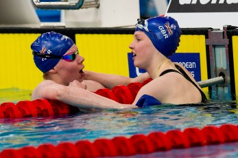(L to R) Stephens Laura Large Emily GBR 200 Butterfly Women Final Gold and Bronze Medal LEN 43rd Arena European Junior Swimming Championships Hodmezovasarhely, Hungary Day02 07-07-2016 Photo Andrea Masini/Deepbluemedia/Insidefoto